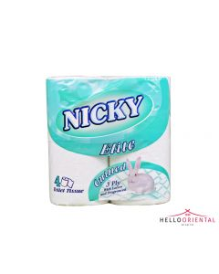 NICKY ELITE TOILET ROLLS QUILTED 3 PLY (PACK OF 4) 卫生纸4个
